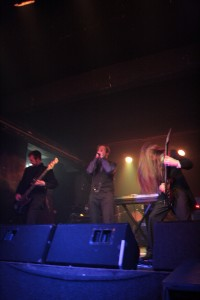 The band onstage at the Monuments launch show, December 2010.